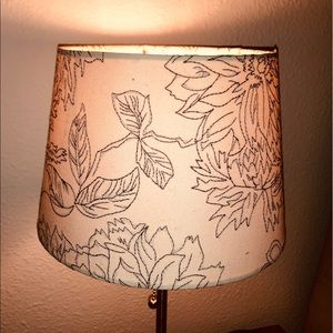 White lampshade w/ gray floral embroidered design